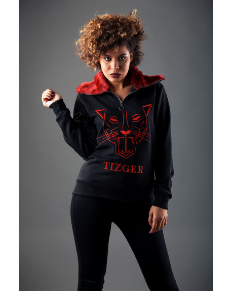 LUXURY TIZGER-SWEAT WITH RED FUR